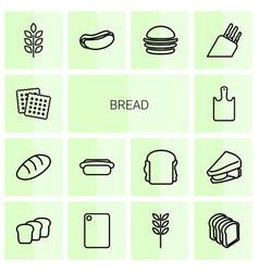 14 bread icons vector