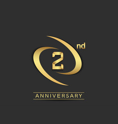 2 years anniversary logo style with swoosh ring vector