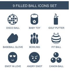 9 ball icons vector