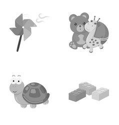 A toy propeller a teddy bear with a giraffe and a vector