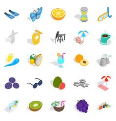 Amirate icons set isometric style vector