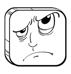 An angry face in a cube vector