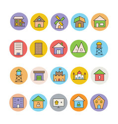 Architecture and Buildings Icons 7 vector image
