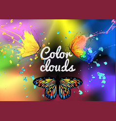 Background with butterfly colored smoke vector