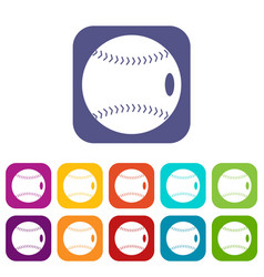 Baseball ball icons set flat vector