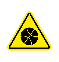 Basketball warning sign yellow game hazard vector