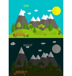 Beautiful nature Day and night in Modern Flat vector