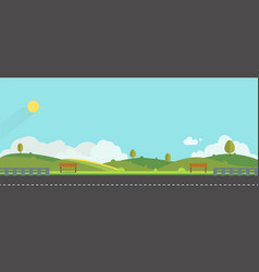 beautiful nature landscape with bench and fences vector image