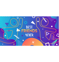 best friends card retro 90s friend high five vector image