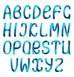 Blue ribbon alphabet vector image