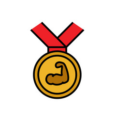 bodybuilder medal reward icon with hand muscle vector image