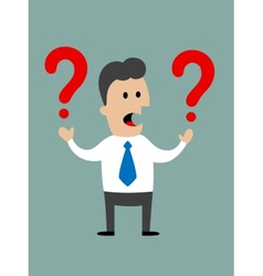 Businessman holding two question marks vector image