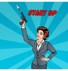 Businesswoman Gives a Start to New Project Pop Art vector image