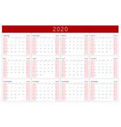 calendar 2020 basic grid simple design template vector image