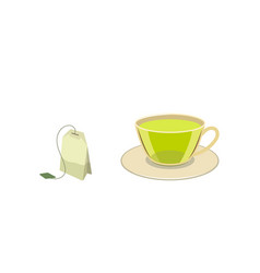 cap of green tea with bag flat vector image