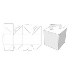 Cardboard carton with holder die cut template vector