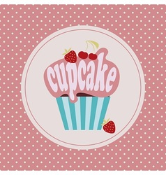 Cartoon cupcake icon vector image