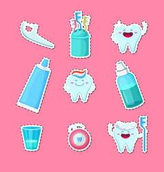 cartoon teeth hygiene stickers isolated on vector image