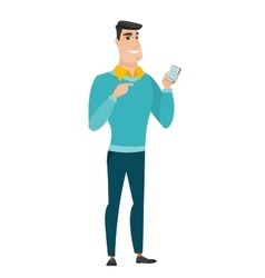 Caucasian business man holding a mobile phone vector
