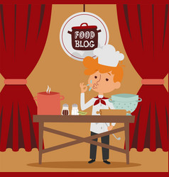 Child chef preparing food in kitchen online blog vector