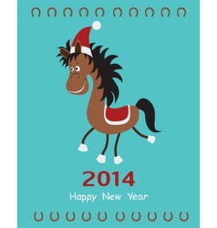 Christmas card with fun horse vector image