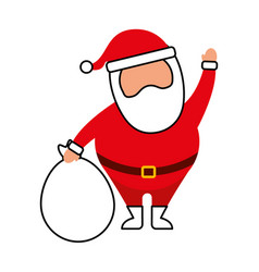 christmas happy santa claus waving hand with bag vector image
