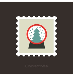 Christmas snow globe with a tree inside flat stamp vector