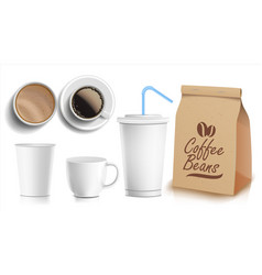 coffee packaging design cups mock up vector image