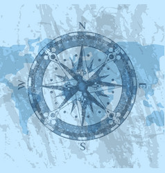 compass rose on background world map vector image