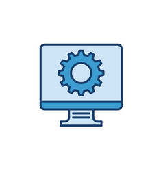 computer with cog wheel icon - settings vector image