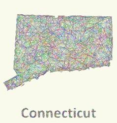 Connecticut line art map vector image