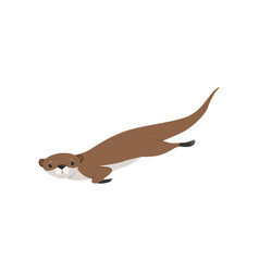 Cute otter swimming funny animal character vector