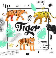 cute tiger hand drawn design childish background vector image