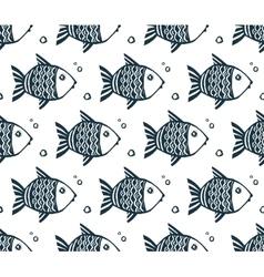 Dark blue grunge fishes seamless pattern vector
