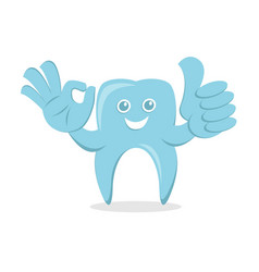 Dental protection cartoon with smile face and ok vector