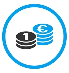 Euro Coin Columns Rounded Icon vector image