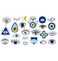 Evil eye symbols hand drawn eyes talismans vector