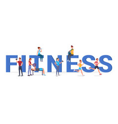 fitness big letters flat vector image