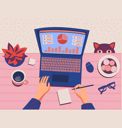 Freelancer working from home data analysis top vector