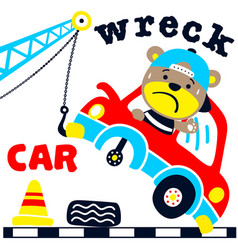funny bear cartoon on wreck car vector image
