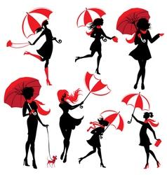 Girl silphuette umbrella 380 vector
