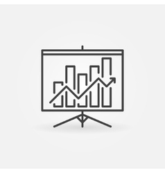 Growing graph presentation linear icon vector