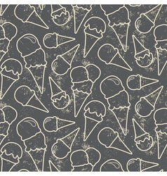 Grunge seamless pattern with ice cream cons on vector image
