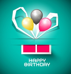 Happy Birthday Paper Card with Gift Box and vector image