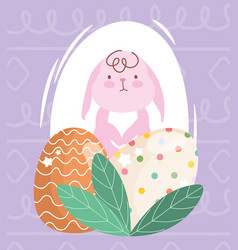 happy easter pink rabbit and decortive eggs vector image