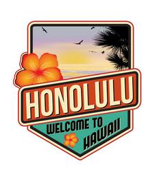 honolulu travel sticker vector image
