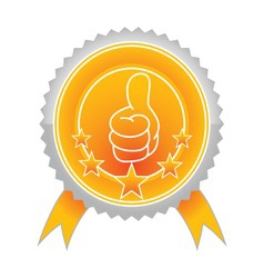 illustration of best choice label with thumb up an vector image