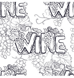 ink hand drawn wine lettering seamless pattern vector image