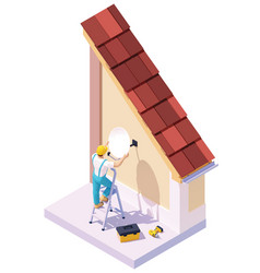 Isometric man installing tv satellite dish vector