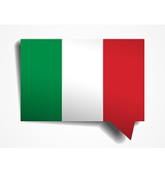 Italy flag paper 3d realistic speech bubble on vector